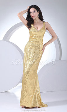 Trumpet/Mermaid V-neck Sweep Train Sleeveless Sequined Dress