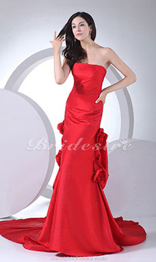 Trumpet/Mermaid Strapless Watteau Train Sleeveless Taffeta Dress