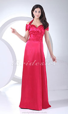 Sheath/Column Sweetheart Halter Floor-length Sleeveless Stretch Satin Dress