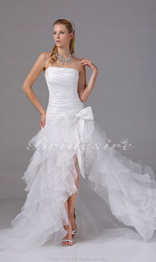 A-line Strapless Asymmetrical Sweep Train Sleeveless Taffeta Organza Wedding Dress
