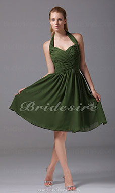 A-line Sweetheart Halter Knee-length Sleeveless Chiffon Dress