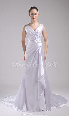A-line V-neck Court Train Sleeveless Stretch Satin Wedding Dress
