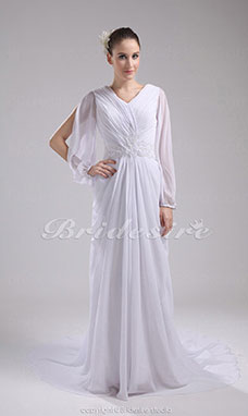 Sheath/Column V-neck Court Train Long Sleeve Chiffon Wedding Dress