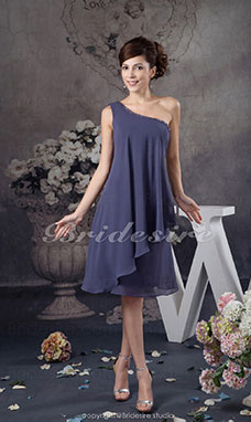 A-line One Shoulder Short/Mini Sleeveless Chiffon Dress