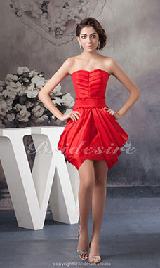 A-line Strapless Short/Mini Sleeveless Satin Bridesmaid Dress