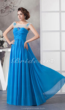 A-line Bateau Floor-length Sleeveless Chiffon Dress