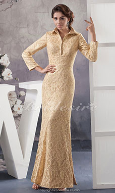 A-line High Neck Floor-length Long Sleeve Lace Dress