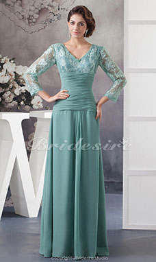 A-line V-neck Floor-length 3/4 Length Sleeve Chiffon Lace Dress