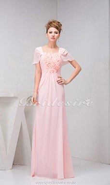 A-line Square Floor-length Short Sleeve Chiffon Dress