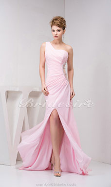 A-line One Shoulder Sweep Train Sleeveless Chiffon Dress