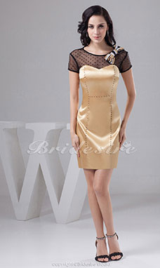 Sheath/Column Scoop Short/Mini Short Sleeve Satin Tulle Dress