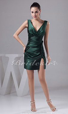 Sheath/Column V-neck Short/Mini Sleeveless Satin Bridesmaid Dress