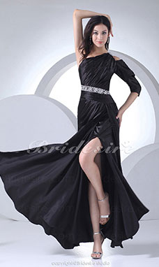 Sheath/Column One Shoulder Floor-length Half Sleeve Stretch Satin Dress