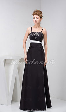 A-line Spaghetti Straps Floor-length Sleeveless Satin Dress