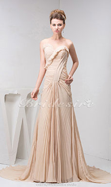 A-line Sweetheart Sweep Train Sleeveless Chiffon Dress