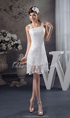 A-line Square Short/Mini Sleeveless Lace Dress