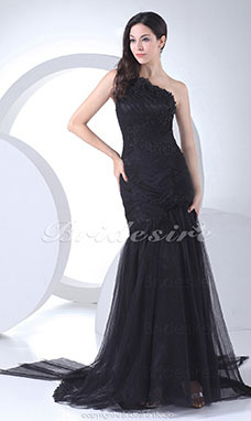 Trumpet/Mermaid One Shoulder Chapel Train Sleeveless Satin Tulle Dress