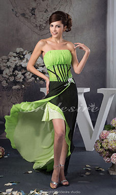 A-line Strapless Sweep Train Sleeveless Chiffon Dress