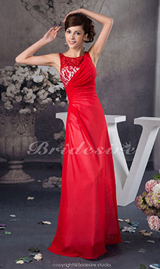 A-line Bateau Floor-length Sleeveless Chiffon Lace Dress