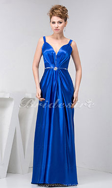 A-line Straps Floor-length Sleeveless Stretch Satin Dress