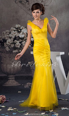 Trumpet/Mermaid V-neck Sweep Train Sleeveless Tulle Dress