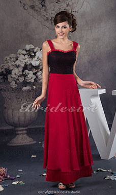 A-line Square Floor-length Sleeveless Chiffon Dress
