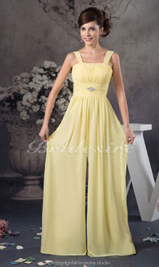 Square Floor-length Sleeveless Chiffon Dress