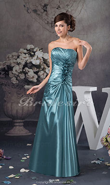 A-line Strapless Floor-length Sleeveless Stretch Satin Dress