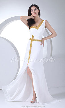 A-line Sweetheart One Shoulder Court Train Sleeveless Chiffon Sequined Dress