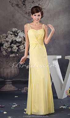 A-line Spaghetti Straps Floor-length Sleeveless Chiffon Dress