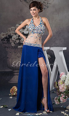 A-line Halter Floor-length Sleeveless Chiffon Organza Dress
