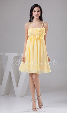 A-line Spaghetti Straps Short/Mini Sleeveless Chiffon Bridesmaid Dress