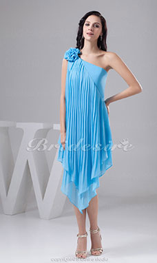 A-line One Shoulder Short/Mini Sleeveless Chiffon Satin Bridesmaid Dress
