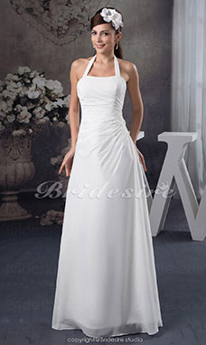 A-line Halter Floor-length Sleeveless Chiffon Wedding Dress