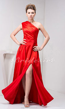 A-line One Shoulder Floor-length Sleeveless Taffeta Dress