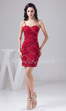 Sheath/Column Spaghetti Straps Short/Mini Sleeveless Satin Dress