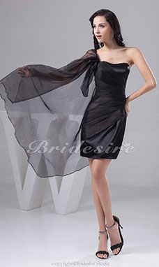Sheath/Column Strapless Short/Mini Sleeveless Satin Organza Dress