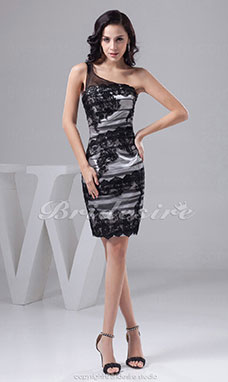 Sheath/Column One Shoulder Short/Mini Sleeveless Lace Dress