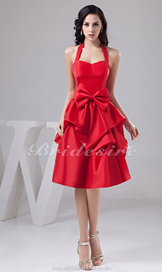 A-line Halter Knee-length Sleeveless Satin Dress