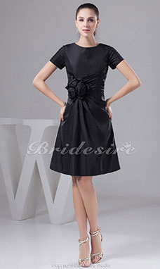 A-line Scoop Short/Mini Short Sleeve Taffeta Dress