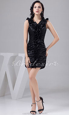 Sheath/Column V-neck Short/Mini Sleeveless Satin Dress