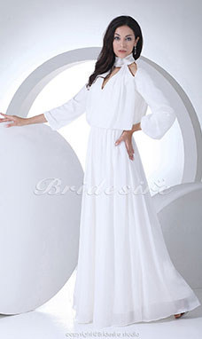 Sheath/Column V-neck High Neck Floor-length 3/4 Length Sleeve Chiffon Dress