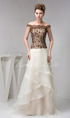 A-line Off-the-shoulder Sweep Train Sleeveless Organza Lace Dress