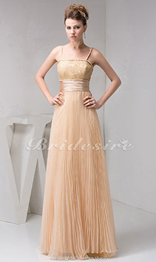 A-line Spaghetti Straps Floor-length Sleeveless Organza Dress