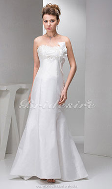 Trumpet/Mermaid Strapless Court Train Sleeveless Taffeta Wedding Dress