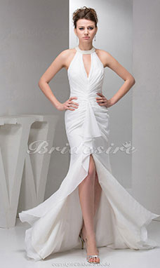 Sheath/Column Halter Court Train Sleeveless Chiffon Dress