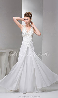 Sheath/Column Halter Court Train Sleeveless Chiffon Wedding Dress