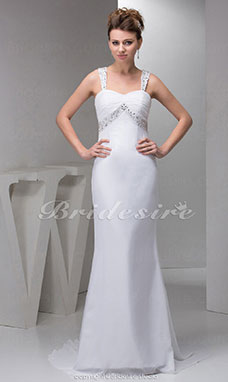 Sheath/Column Spaghetti Straps Sweep Train Sleeveless Chiffon Wedding Dress