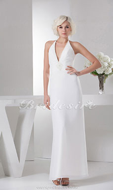 A-line Halter Floor-length Sleeveless Satin Bridesmaid Dress