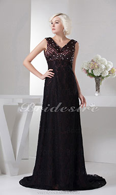 A-line V-neck Floor-length Sweep Train Sleeveless Lace Chiffon Dress